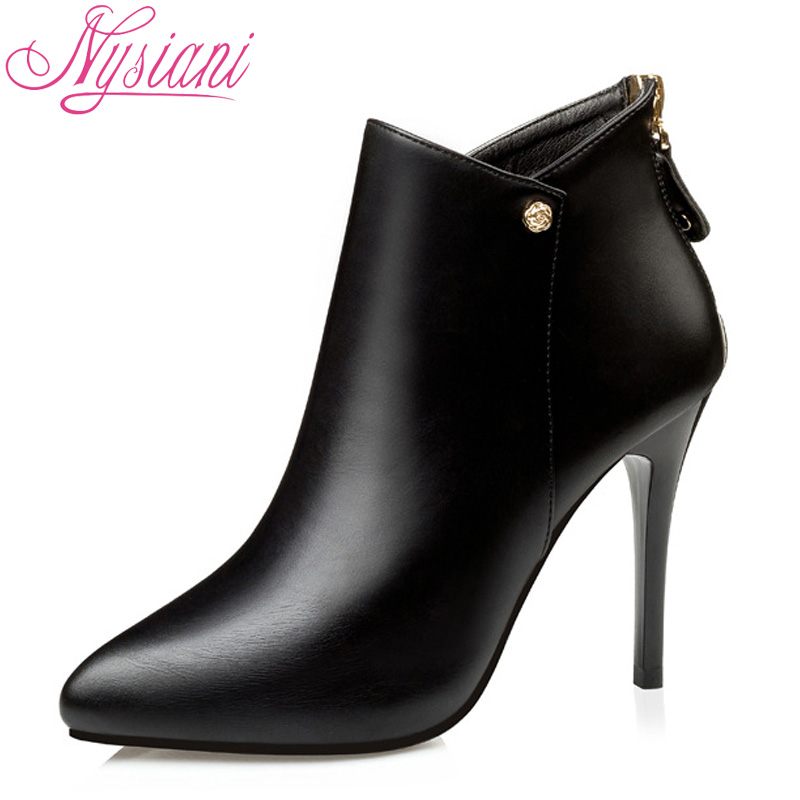 Autumn Winter Women Ankle Boots Heels Shoes 2018 Elegant Zipper Brand Designer Fashion Pointed Toe Sexy Thin Heels Boots Nysiani 2018 pointed toe high heels wedding shoes for brides brand designer fashion sexy evening high heels women stilettos nysiani