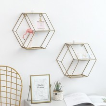 Wall Mounted Hexagon Floating Shelves Modern Simple Geometry Metal Wire Plant Flower Decoration  For Bedroom Office