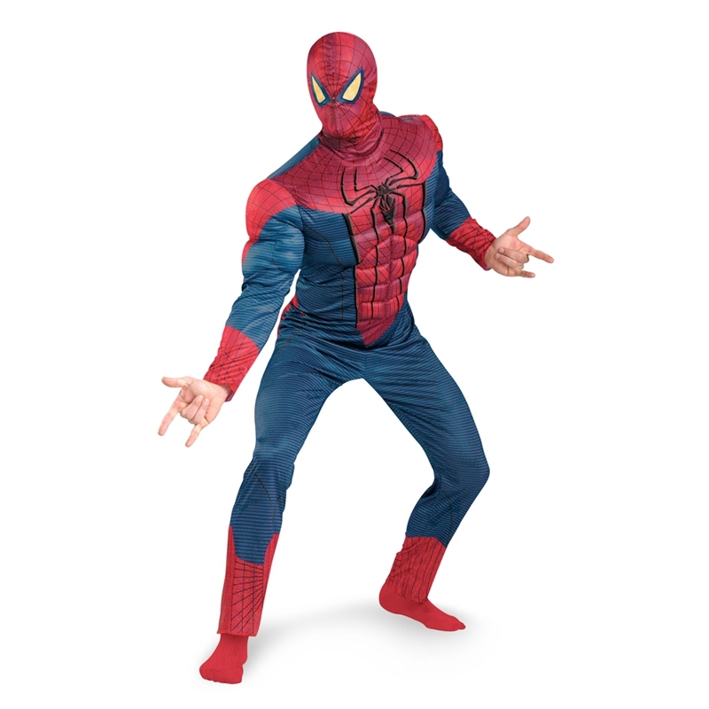 Hot On Sale Adult Men Muscle The Amazing Spiderman Costume Marvel Superhero Fantasy Movie Fancy Dress Cosplay Clothing