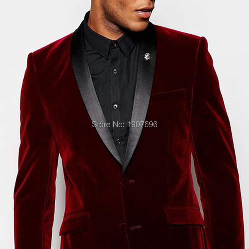 Burgundy Velvet Men Suits for Wedding Groom Tuexedos 2019 Winter Men Jacket Black Pants Two Piece Man Blazer in Suits from Men 39 s Clothing