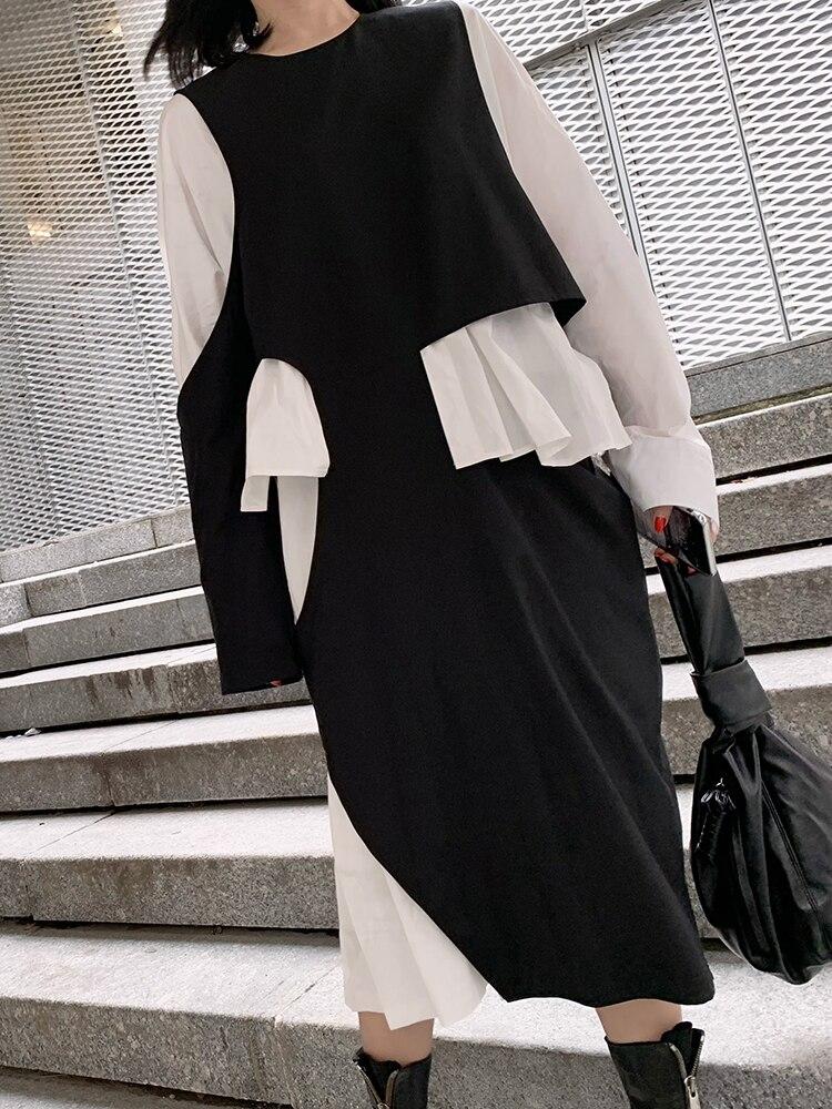 f41cf95d1d2f Da Due Volant Asimmetria Donna Dalla In E275 Cotone Colori Abiti Di  Irregolare Dei Black Falso Bianco 2019 Corrispondenza Nero Casual Lungo  Vestito ...
