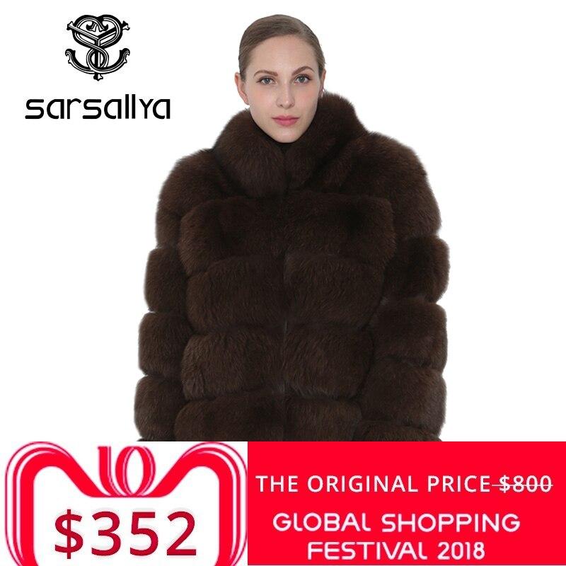 SARSALLYA Fox abrigo de piel Natural de las mujeres CoatsJackets Chaleco de abrigo de invierno de piel de zorro ropa