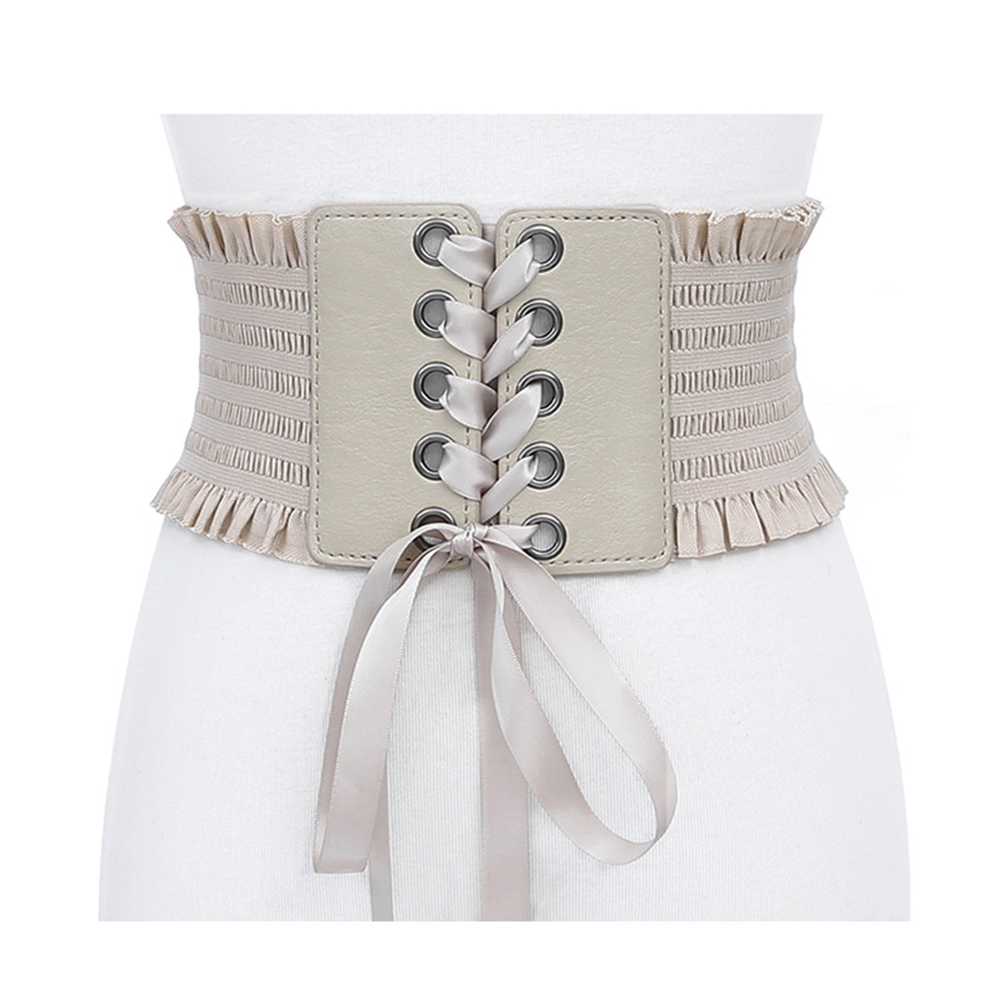 Fashion Cummerbunds Stretch Belt Lace Up Tassels Elastic Buckle Wide Dress Corset Waistband Bandage Shirts Belts Brown Leather