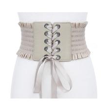цены Fashion Cummerbunds Stretch Belt Lace Up Tassels Elastic Buckle Wide Dress Corset Waistband Bandage Shirts Belts Brown Leather