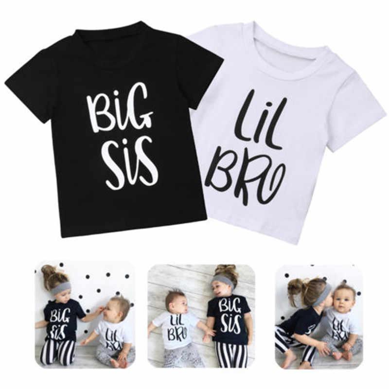 เสื้อผ้าเด็กผู้หญิงพิมพ์เด็กทารกเด็กผู้หญิงเด็กฤดูร้อนสวมใส่เสื้อยืด Big Sister Litter Brother การจับคู่ชุด 0-6 ปี