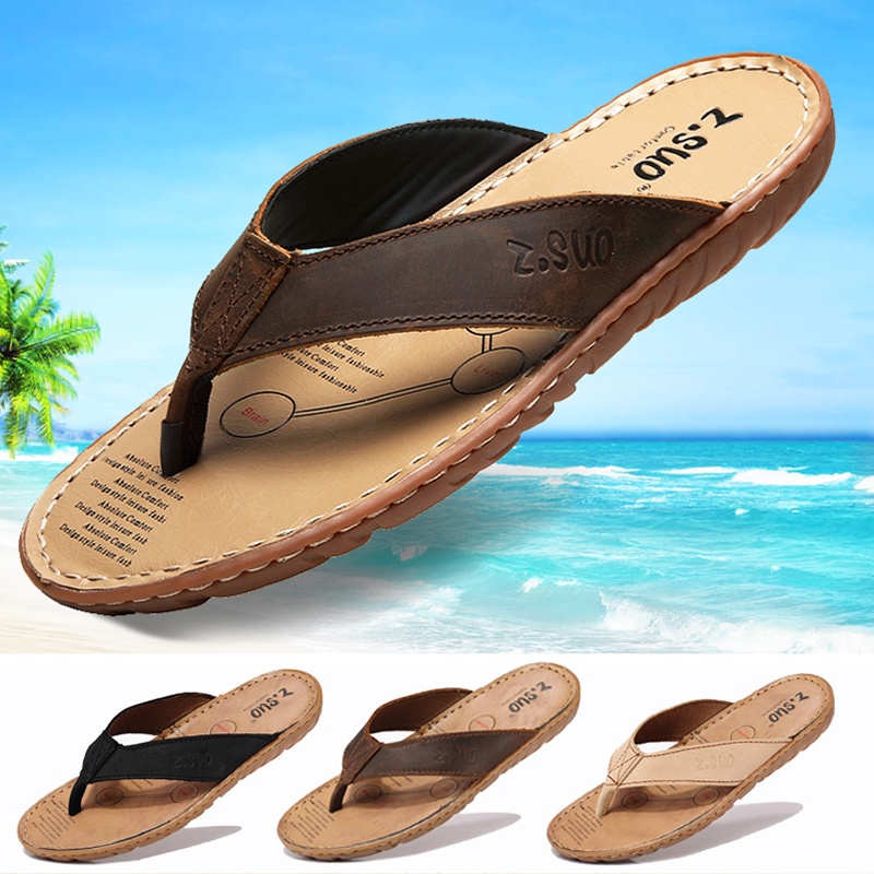 ZSUO Brand Genuine Leather Men Sandals 2019 Summer Flip Flops Slippers Shoes Men Super Quality Beach Summer Shoes Big Size 38-47