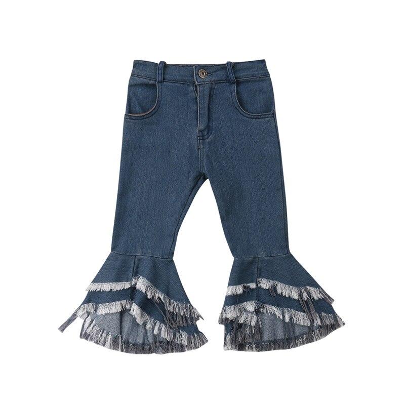 Mädchen Kleidung Zuversichtlich Neue Mode Kinder Vintage Jeans Mädchen Jeans Glocke Böden Kinder Hosen Herbst Outwear Hosen Böden 2-7y Jeans