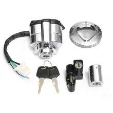 1 Set di Alluminio di Accensione Gas Calotta Del Casco Sterzo Lock Set per Honda Shadow VLX VT 400 600 750