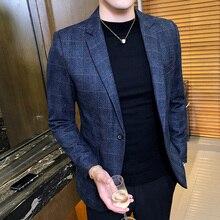 Vintage Plaid Blazer British Stylish Male Blazer Suit Jacket