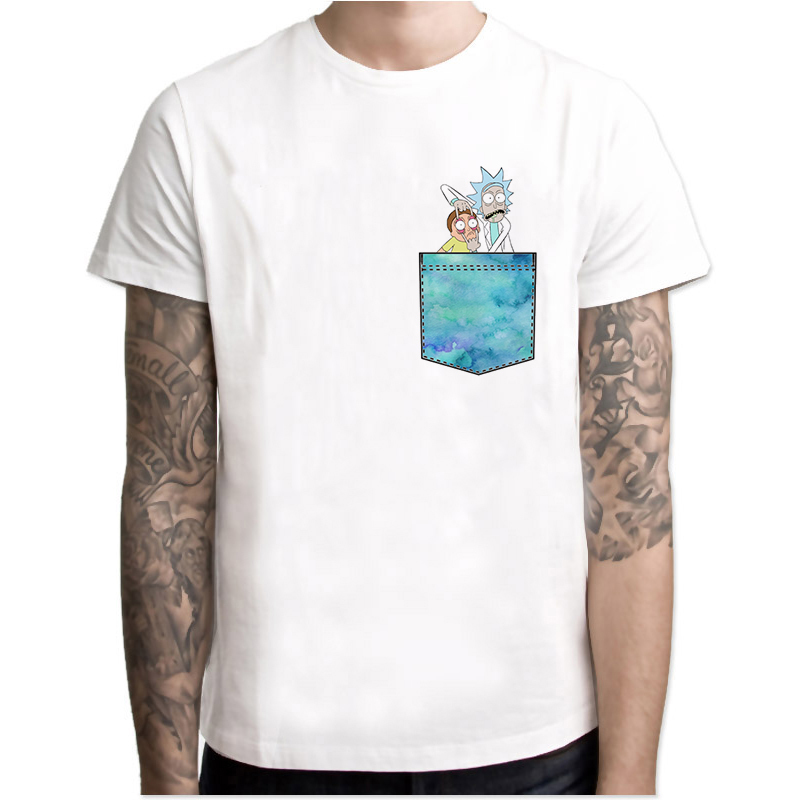 Rick and Morty Tshirt Men Funny Pocket Printed T Shirt Pickle Movie Tv Anime T-Shirt Male Hip Hop 2019 Camisetas Hombre