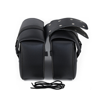 Black 1 Pair of Motorcycle PU Leather Side Saddle Bags Tool For Harley Honda