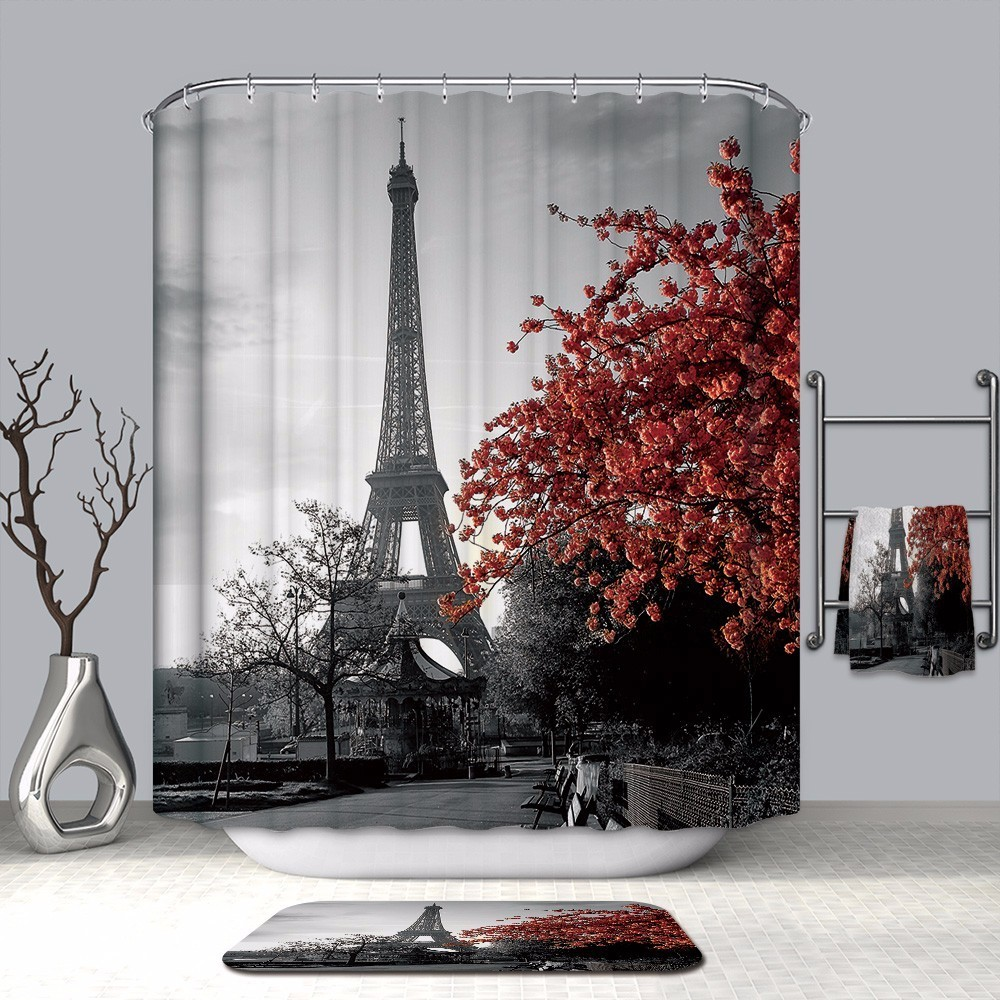Image 5 - VOZRO Shower Curtain Quality Natural Waterproof Polyester Bathroom 2 M Cloth 3D Fcollege Dormr Simple Bape Douchegordijn Pascoa-in Shower Curtains from Home & Garden