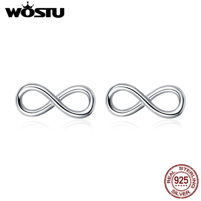 WOSTU Real 925 Sterling Silver Infinite Love Stud Earrings For Women Wedding Engagement Small Earring Silver 925 Jewelry CQE562