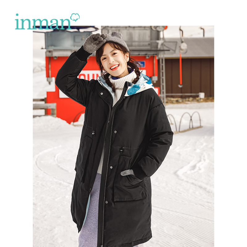 INMAN Winter New Arrival Hooded Warm Windproof Waist Slim Long Section Woman   Down     Coat