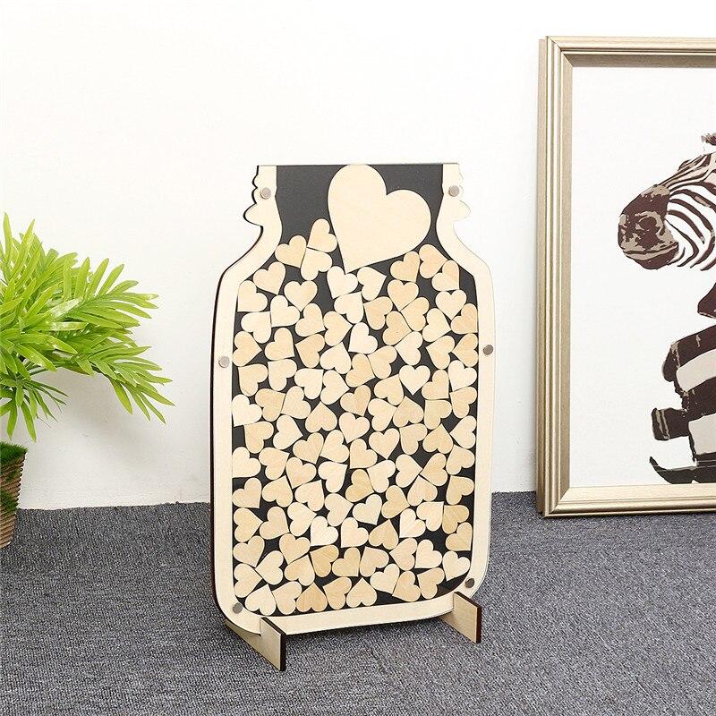 150 pièces Alternative rustique Mason Jar bois coeur goutte boîte de mariage livre d'or en bois invités livres bricolage décor de mariage