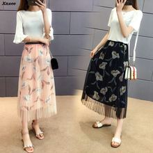 Women Fashion Vintage Chiffon Long Skirts Floral Mesh Print Saia A Line Faldas Summer High Waist Bohemian Midi Skirt Saia Xnxee цена