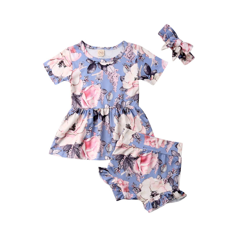 Focusnorm New Fashion 3pcs Toddler Kids Baby Girl Set Short Sleeve Shirt Tops+shorts Pants Holiday Outfits Clothes Set Distinctive For Its Traditional Properties