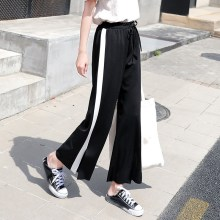 Summer Streetwear High Waist Side Striped Wide Leg Pants Baggy Pants Women Trousers Palazzo Pants