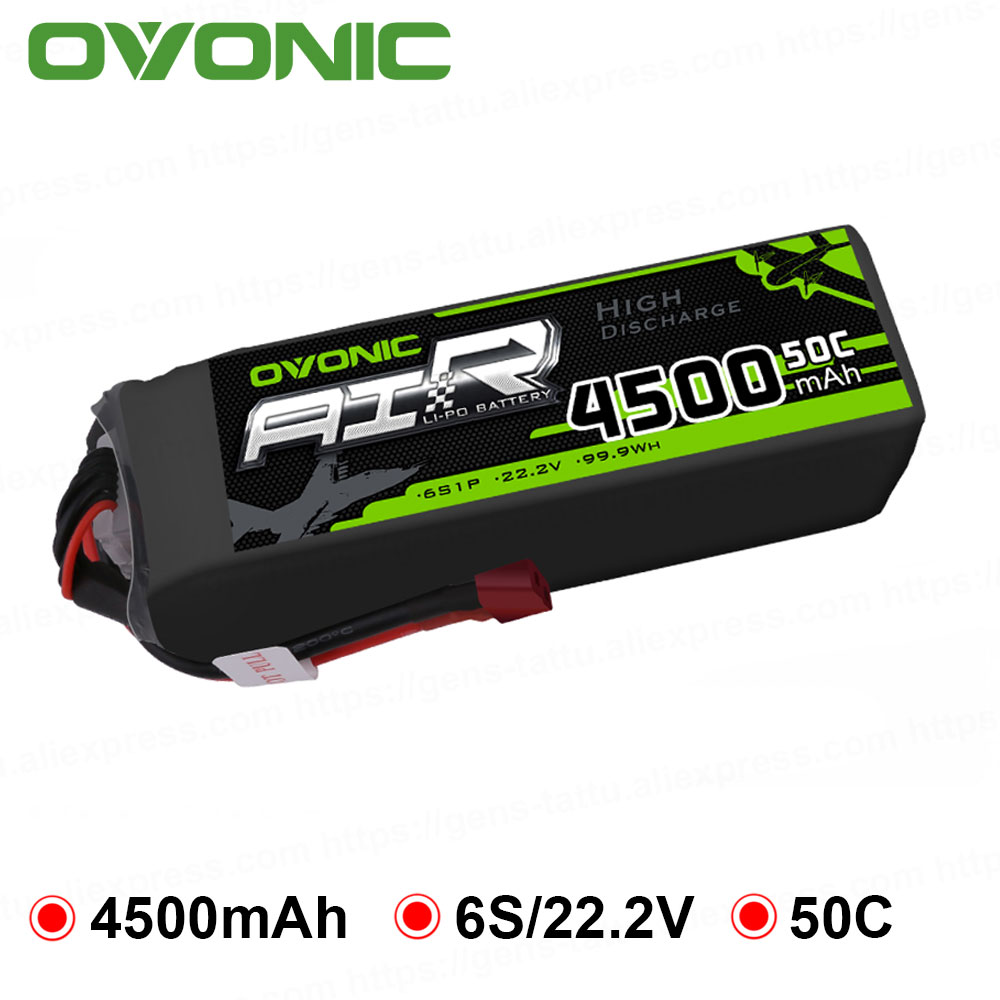 Ovonic 4500mAh 22.2V Lipo 6S 50C 100C Lipo Battery Pack T and XT60 Plug for RC Car Big Size Helicopter Quad Plane Drone image