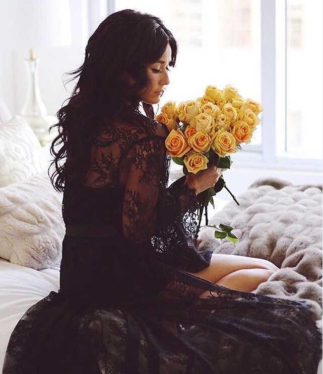 女性レースマキシドレスワイド長袖ドレス固体黒、白 Asymetrical 床長さロングドレス Vestidos ファム