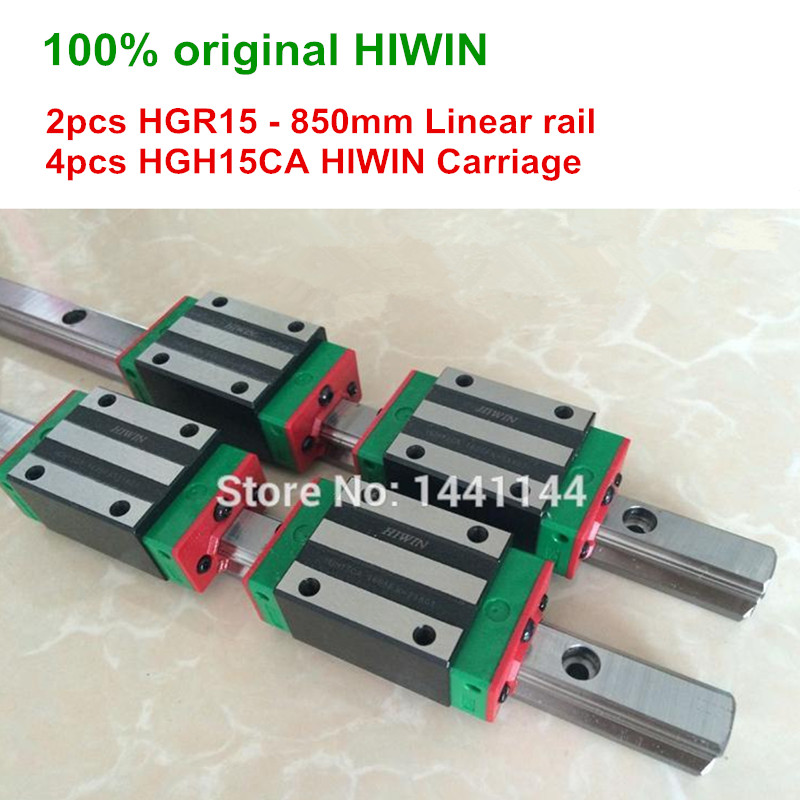 HGR15 HIWIN linear rail 2pcs HIWIN HGR15 850mm Linear guide 4pcs HGH15CA Carriage CNC parts
