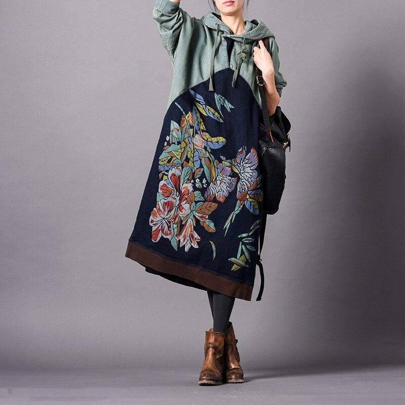 Femmes Floral Sweat sweat à capuche Manches Chauve-Souris Vintage 2019 Printemps Nouveau Patchwork Japon Style Harajuku Hoodies