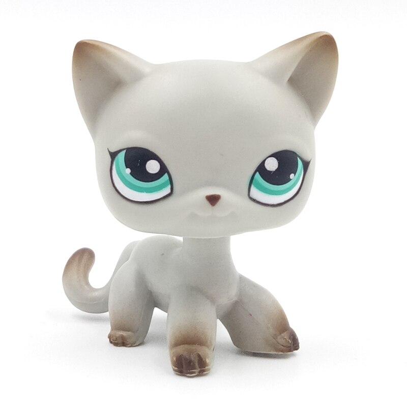 Rare Pet Shop Toys Standing #391 Grey Short Hair Cat Green Eyes Old Original Free Shipping