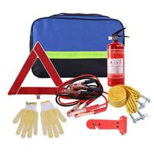 hot deal buy car emergency rescue kit equipment vehicle outdoor auto first aid safety tool storage bag+triangle warning sign+battery line
