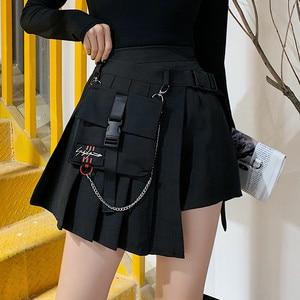 Image 4 - Hot Sale A line Women Sexy Mini Skirt Plaid Street Style Women Side Pockets Design Mini Pleated Skirt