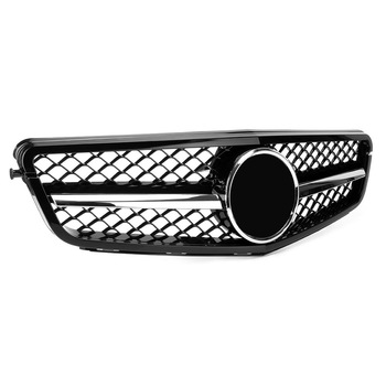 Gloss Black ABS Car Front Bumper Grill 1Fin Grille For Mercedes Benz C-Class W204 C300 C350 2008 2009 2010 2011 2012 2013 2014 image