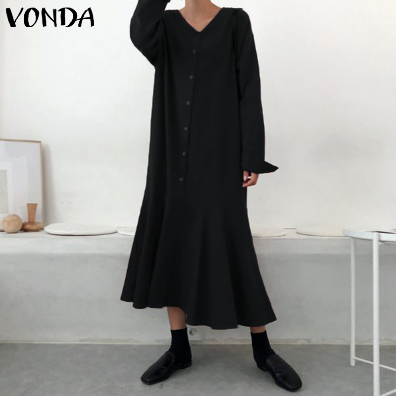 VONDA Vintage Dress Women 2019 Autumn Casual Loose V Neck Full Sleeve Button Ruffle Swings Long Dresses Plus Size Party Vestidos