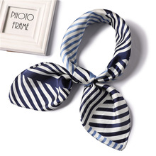 Ruicesstai new silk scarf women fashion striped square scarves office lady neckerchief high quality foulard femme hair tie band