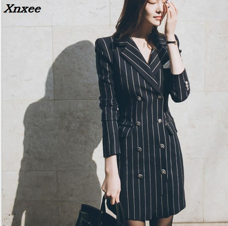 Office lady slim striped blazer women dress medium-long elegant work suits long sleeve female blazer feminino jacket coat Xnxee
