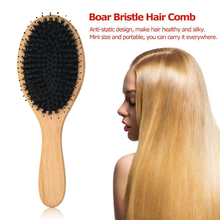 Boar Bristle Hair Brushes Natural Bamboo Cushion Massage Anti Static Paddle Comb Tool Anti-Static