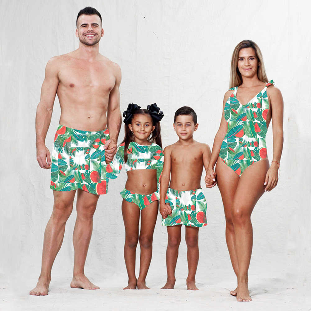 910db1d1e3 2019 Family Matching Swimwear Mother Daughter Men Women Kids Baby Girl  Floral One piece Bikini Swimsuit