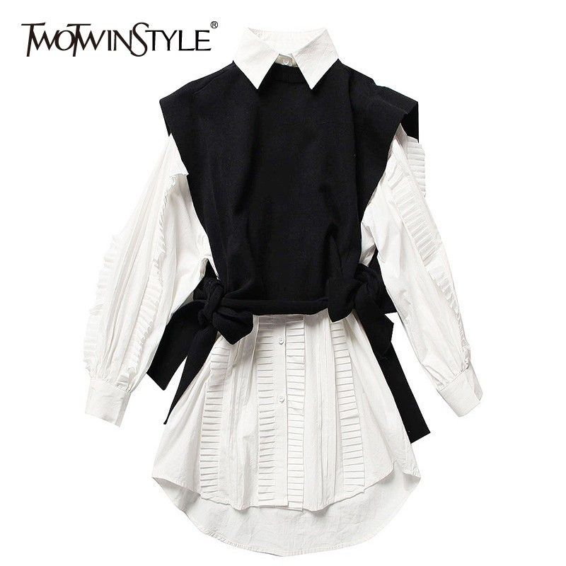 twotwinstyle-two-piece-set-female-long-sleeve-white-ruffle-shirt-dresses-knitting-lace-up-black-vest-korean-womens-dress-suit