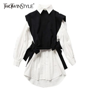 TWOTWINSTYLE Two Piece Set Female Long Sleeve White Ruffle Shirt Dresses Knitting Lace Up Black Vest Korean Womens Dress Suit