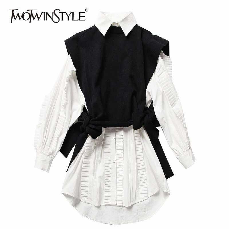 TWOTWINSTYLE комплект из двух предметов женский длинный рукав белая рубашка с рюшами платья вязание на шнуровке черный жилет корейский женский костюм