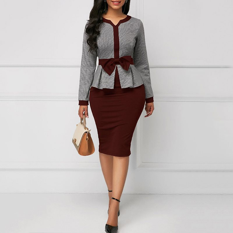 d63b97998a5 Women African Vintage Dress Bodycon Elegant Bowknot Sheath Long Sleeve  Office Ladies Color Block Chic OL