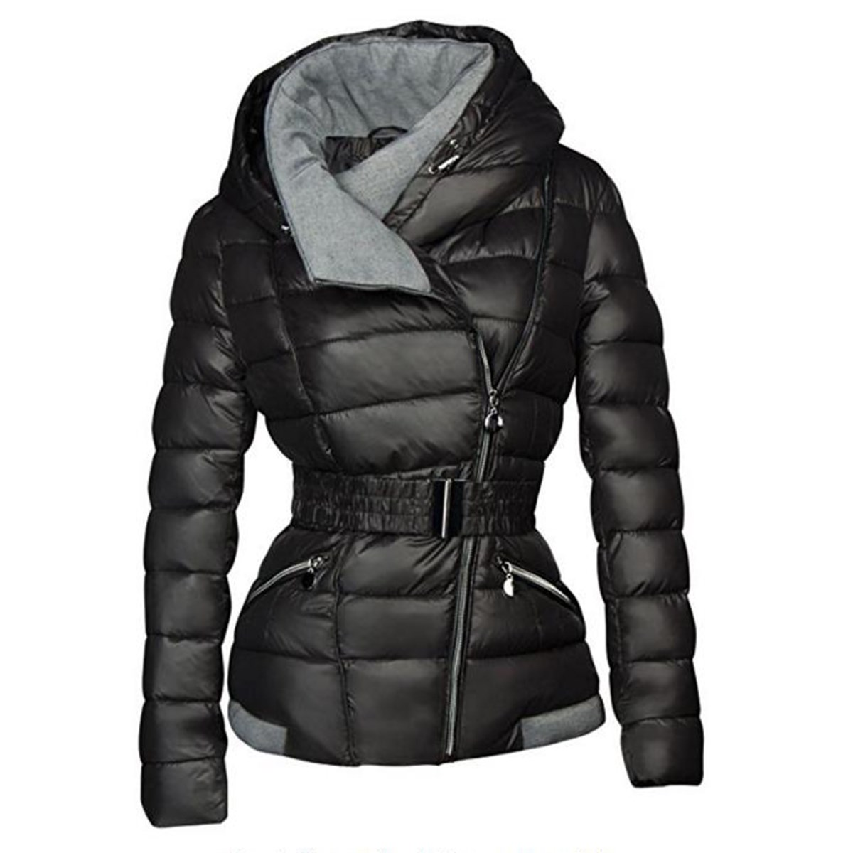 Winter black   parkas   Women Light Down Jacket Women Hooded Female Zipper Pockets belt plain Outwear Fashion Coat warm gril 2019