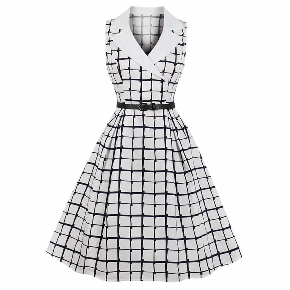 Joineles хлопковое летнее офисное женское платье с отложным воротником без рукавов Betls ретро платье 60 s винтажное платье vestidos robe платье новое