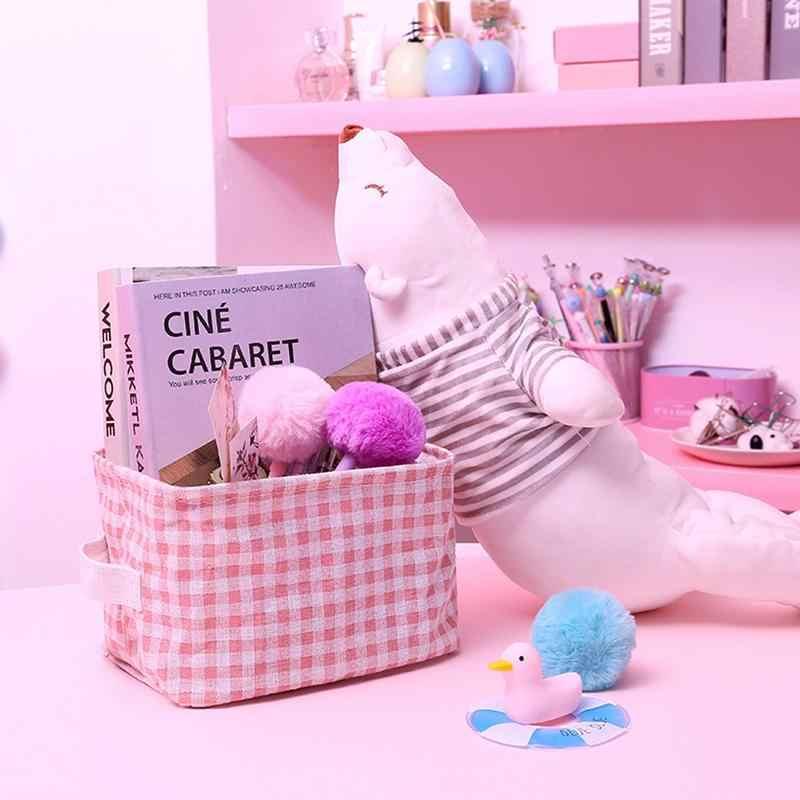Tiener Meisje Mooie Roze Plaid Thuis Katoen Linnen Art Opslag Mand Cosmetische Opslag Diversen Opslag Mand Met Handgrepen