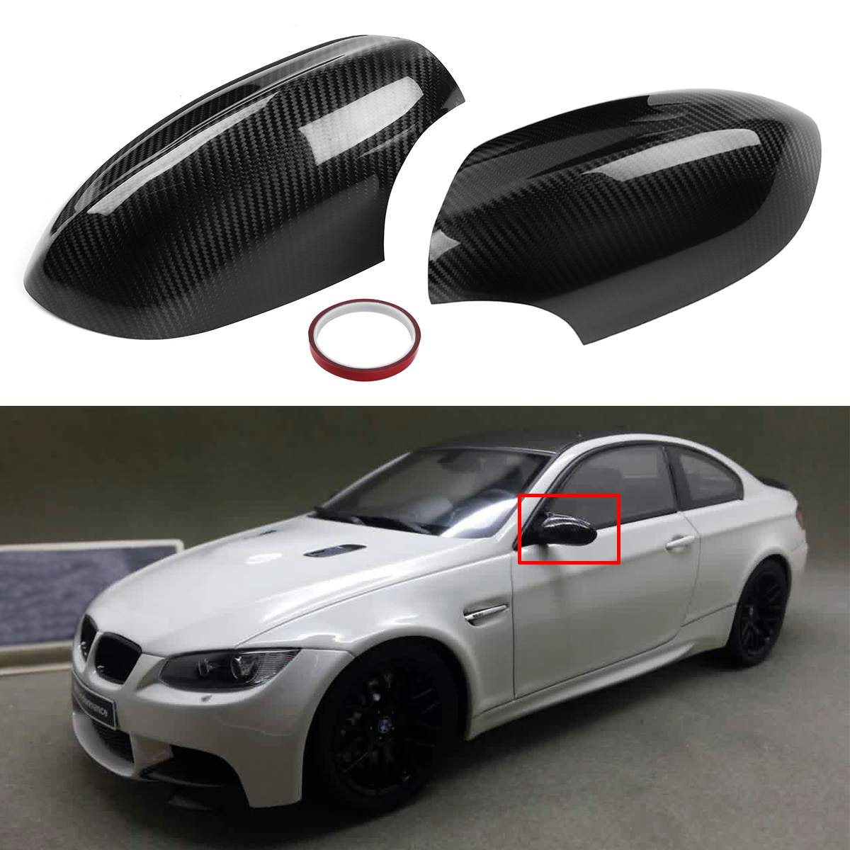 1 Pair Real Carbon Fiber E92 M3 2Dr Add-on Car Side Mirror Cover Caps Rearview Mirror cover Trim For BMW E92 E93 M3 2Door Model image