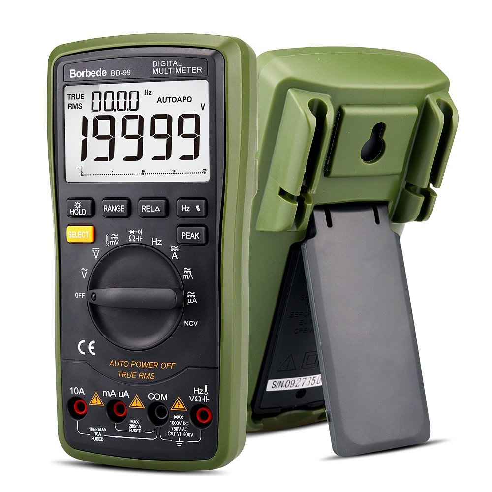 Borbede Bd-99 Digital Multimeter 20000 Counts Auto Range Dc Ac Resistance Capacitance Peak Hold True Rms Ncv Diode Tester Meter