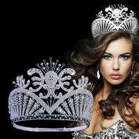 Miss Beauty Pageant Crown High Grade Tiara Green Australian rhinestone crystal Hand Made Hairwear adjustable Headband Mo250