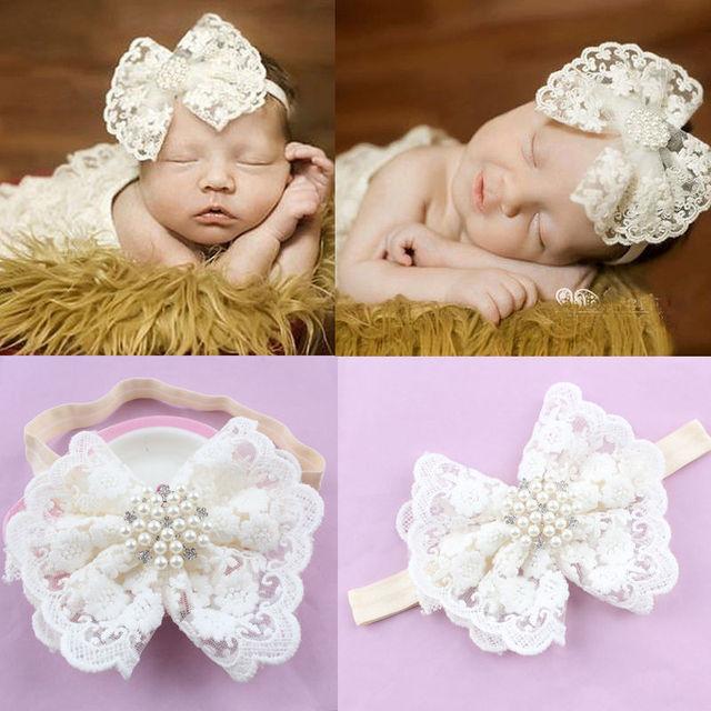 Niños niña bebé niño, arco de encaje flor blanca bebé banda de pelo accesorios lindo