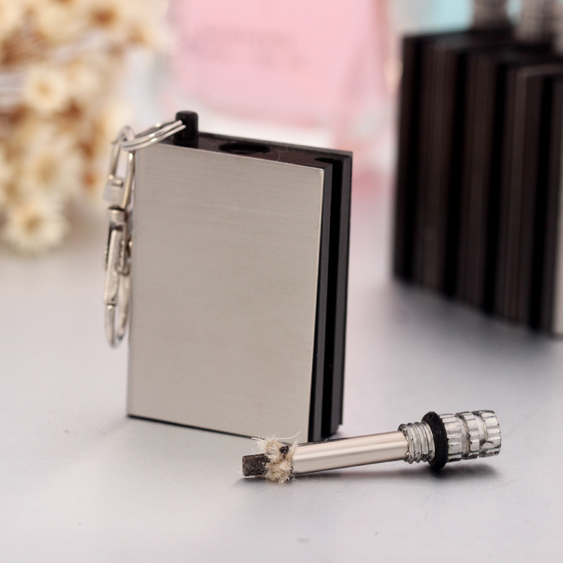 One Small + One Big Permanent Matches Flint Stone Cigarette Lighter Key Chain Instant Emergency Fire Starter Matchstick