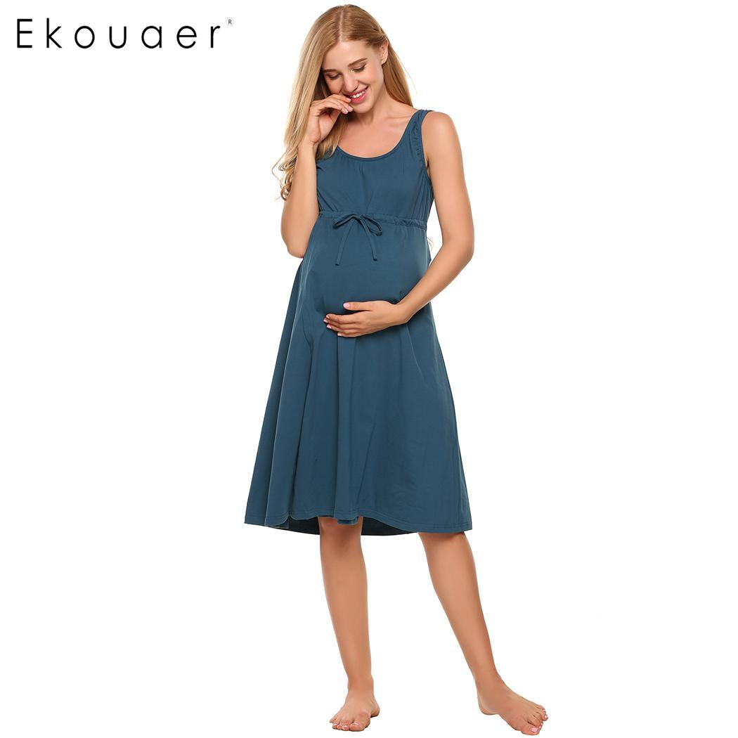 Ekouaer Cotton   Nightgown   Soft   Sleepshirts   Women O-Neck Sleeveless Solid Front Tie Nursing Maternity Night Dress Sleepwear