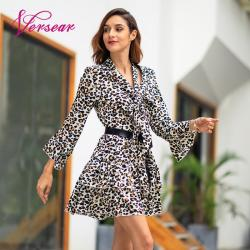Versear Women Leopard Print Dress Sexy V Neck Bow Tie Long Flare Sleeve Spliced Ruffle Party Mini Dress Autumn OL Fashion Dress 9