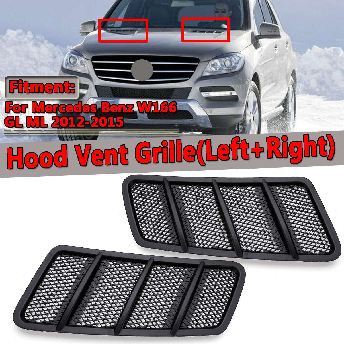 New Car Front Hood Vent Grille Air Flow Intake Hood For Mercedes For Benz W166 GL GL350 GL450 GL550 ML ML350 ML550 2012-2015 grille